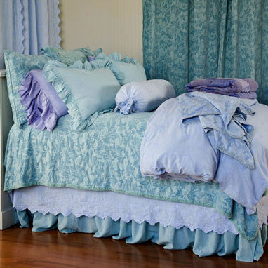 Linen Queen Bed Skirt in Aqua