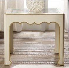 Glass Top French End Table Pair in Vanilla Bean With Gold Detail/ Modern History - Retail $4,600.00