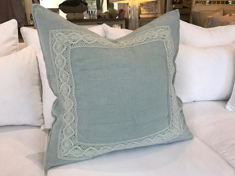 Homespun with Crochet Lace Euro Sham in Seaglass