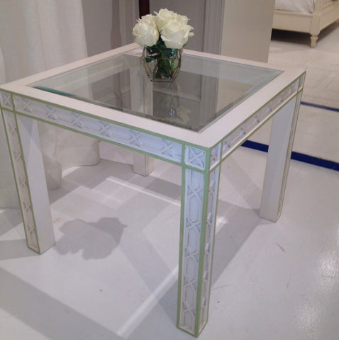 Corolla Game Table in Powdered Sugar with Key Lime Pie Accent - Retail $2,850.00