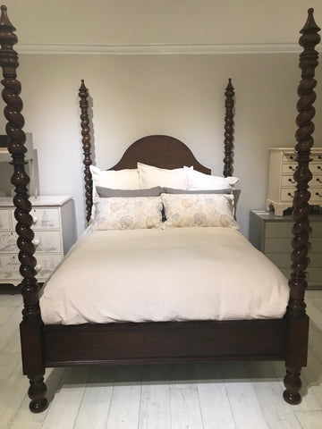 Catalina Poster Queen Bed in Carmel Chew - Retail $6,936.00