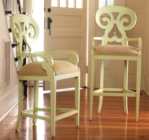 Carmel Swivel Counter bar stools in Pistachio Whip - Retail $1,926.00
