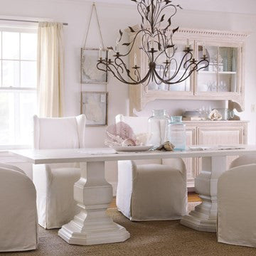 Killington Double Pedestal Dining Table in Powdered Sugar - Retail $7,212.00