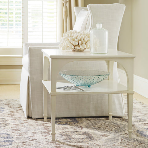 Bellport Bay End Table w/ Shelf in Powdered sugar white Retail $1,790.00