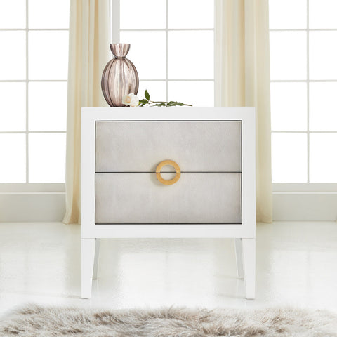 Retro Shagreen Nightstand in Sea Foam Grey - Retail $2,394.00
