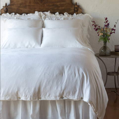 Isabella Queen Duvet Cover in White
