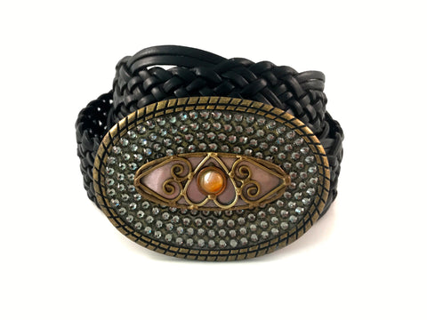 C-Bronze Oval with Medallion and Black Diamond Swarovski Crystals
