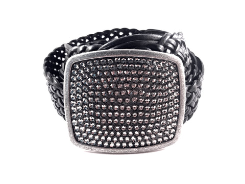 C-Square Buckle Covered in Black Diamond Swarovski Crystals
