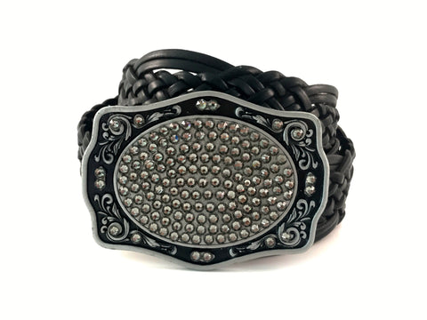 C-Western Buckle with Black Diamond Swarovski Crystals