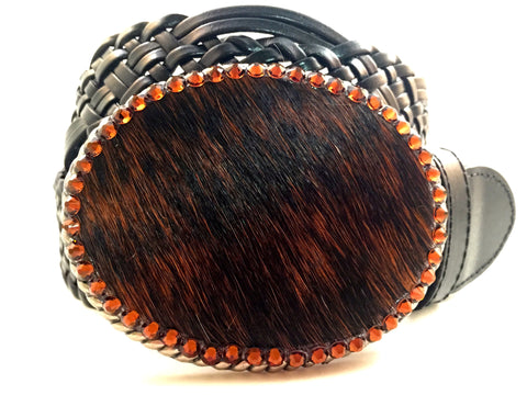 Cowhide Black and Brown with Brown Swarovski Crystals