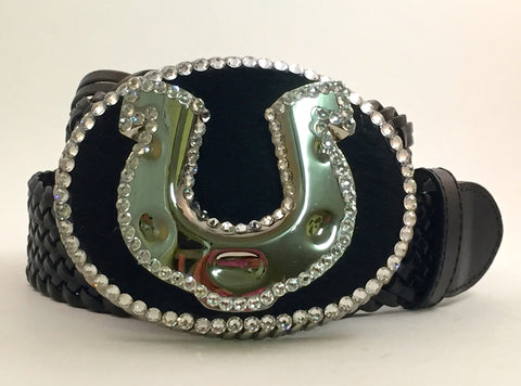 Large Buckle with Horseshoe on Cowhide with Clear Crystals
