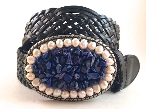 Blue Lapis and Freshwater Pearl Buckle