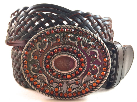 Silver Round Buckle with Brown Crystals