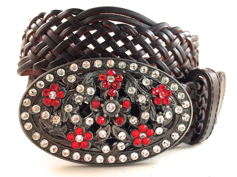Flower Patterned Buckle Red