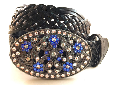 Flower Patterned Buckle Sapphire Blue