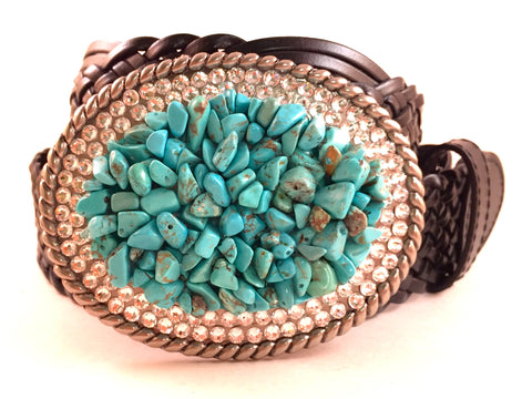 Turquoise and Clear Gemstone Buckle