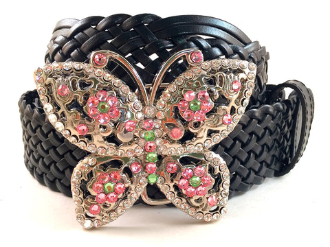 Butterfly Belt Buckle Pink and Green