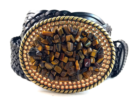 Tiger Eye and Gold Gemstone Buckle