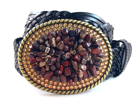 Maroon Jasper and Gold Gemstone Buckle