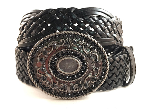 Silver Round Buckle with Black Crystals