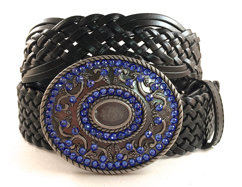 Silver Round Buckle with Blue Crystals