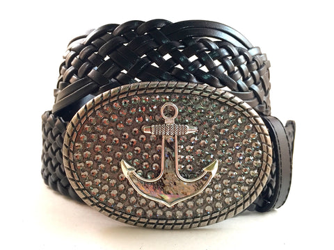 Abalone Anchor Buckle with Gray Crystals