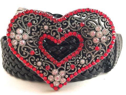 Heart Belt Buckle Red