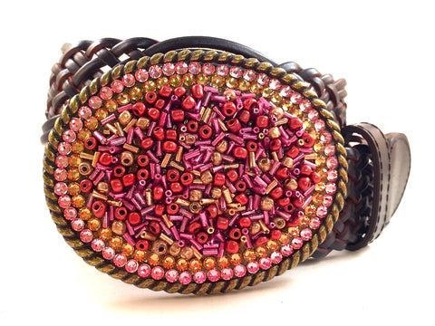 Beaded Buckle with Gold and Pink Crystals