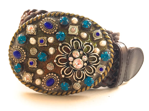 Mosaic Multi Colored Blue Buckle