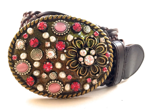Mosaic Multi Colored Pink Buckle