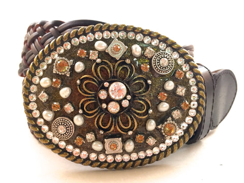 Mosaic Flower Two Tone Buckle