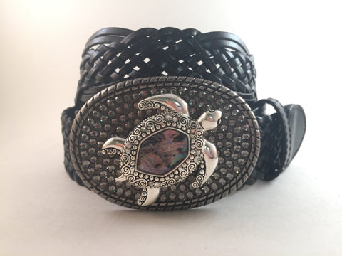 Abalone Turtle Buckle with Gray Crystals
