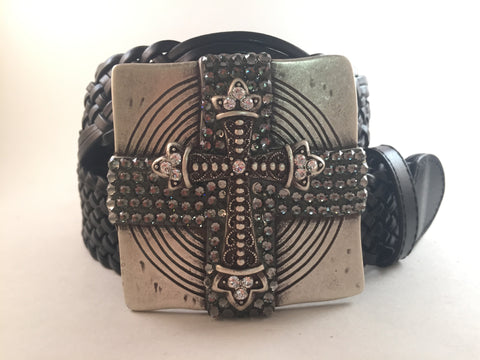 Square Cross Buckle Accented with Gray Crystals