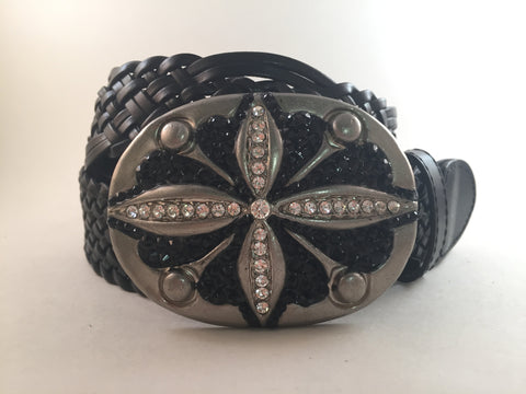 Oval Hammered Buckle with Black Crystals