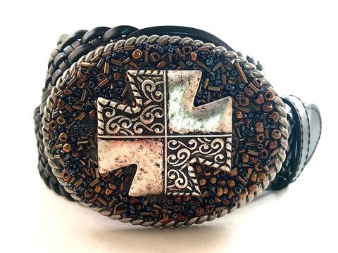 Beaded Metallic Buckle with Cross