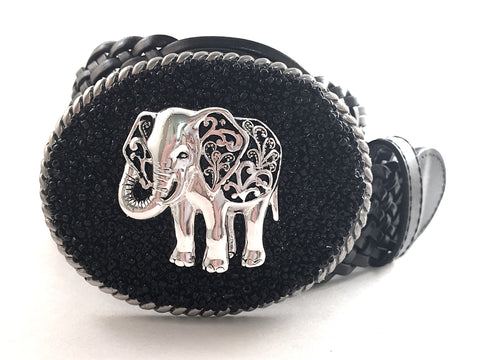 Beaded Black Buckle with Elephant