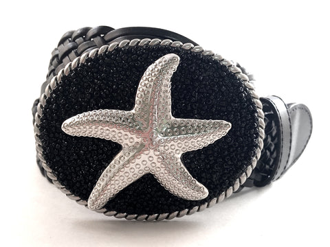 Beaded Black Buckle with Starfish