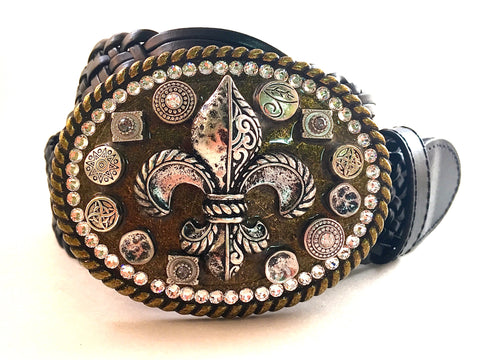 Mosaic Fleur De Lis Buckle with Crystals
