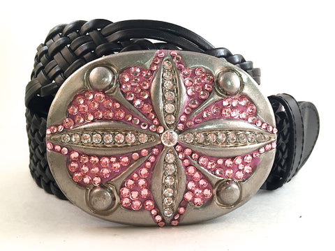 Oval Hammered Buckle with Pink Crystals