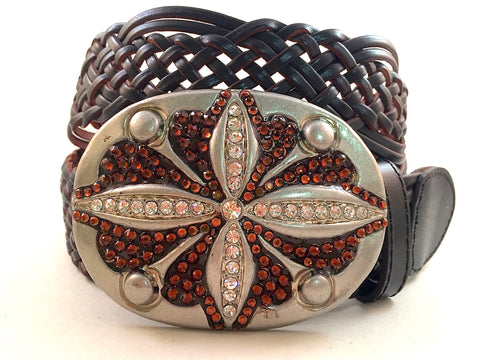 Oval Hammered Buckle with Brown Crystals