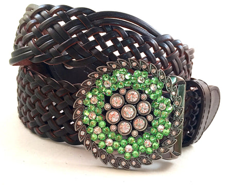 Round CZ and Peridot Buckle