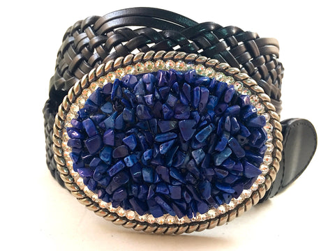 Gemstone Blue Lapis Buckle with Crystals