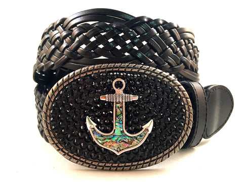 Abalone Anchor Buckle with Black Crystals