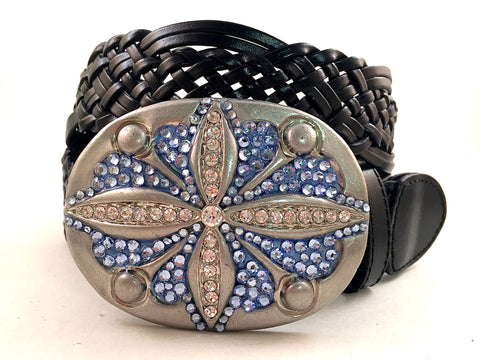 Oval Hammered Buckle with Blue Crystals