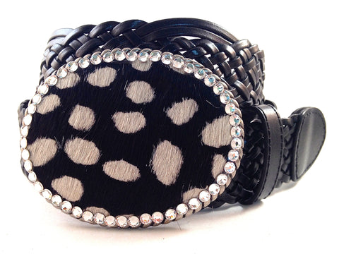 Cowhide Black and White with Clear Crystals