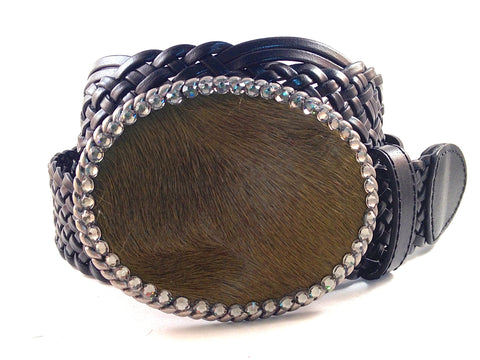Cowhide Olive Green with Gray Crystals