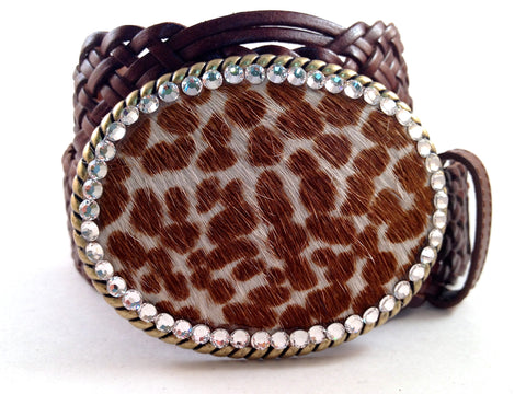 Cowhide Light Brown and White with Clear Crystals