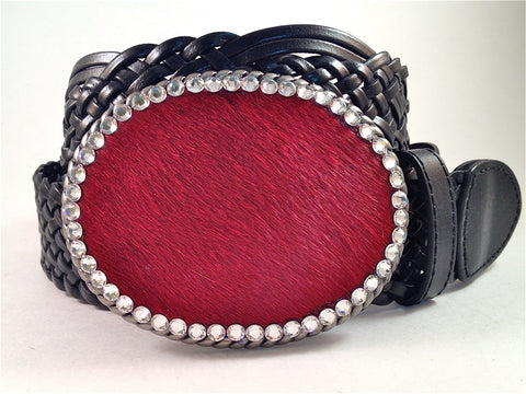 Cowhide Red with Clear Crystals