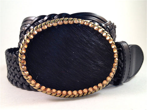 Cowhide Black with Gold Crystals