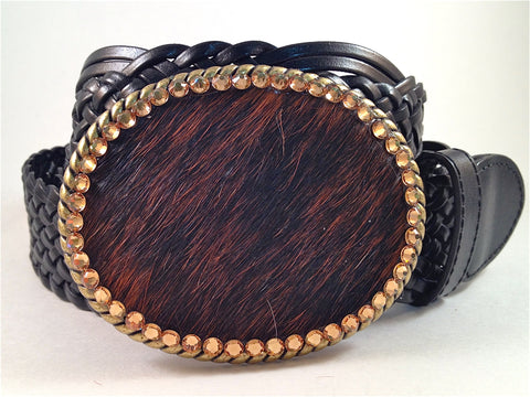 Cowhide Black and Brown with Gold Crystals